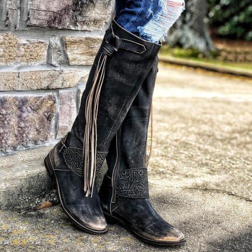 Vintage Tassel Zipper Boots Low Heel Women Knee-High Boots
