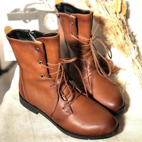 Mid-Calf Low Heel Lace Up Casual Artificial Leather Boots