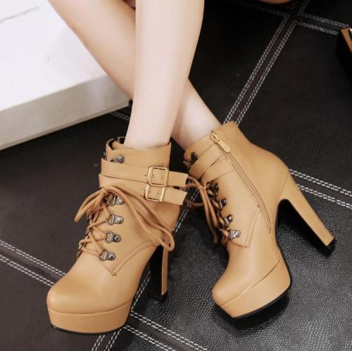 Lace Up Platform Short Boots Plus Size Women Shoes 4565