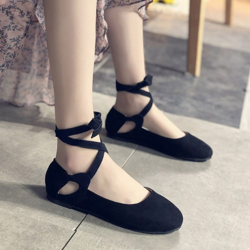 2019 Flat Shoes Women Lace Up Flats Women Boat Shoes Shallow Dancing Ladies Loafers Ballet Solid Women Flats