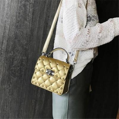 Chic Casual Leather Rectangle Rivet One Shoulder Hand Bag