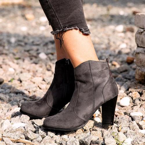 Winter Chunky Heel Working Suede Zipper Boot