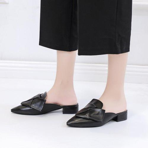 Fashion Pointed Head Plain Bow Flat Sandal