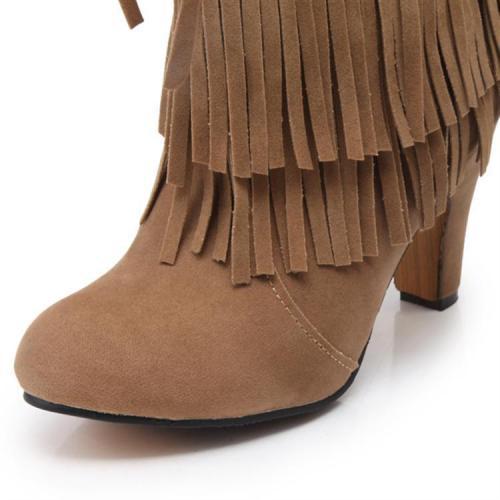 Women Tassel High Heel Short Boots Plus Size Autumn and Winter Shoes 4662