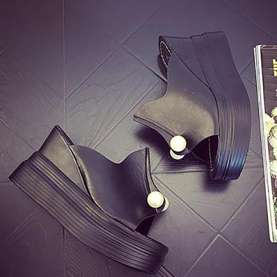 PU Faux Pearl Casual Wedge Heel Slippers