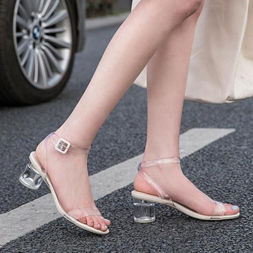 Transparent Crystal Shoes Women Sandals 2020 Summer High Heels Women Party Shoes Elegant Brand Ladies Square Heel 5cm A1359