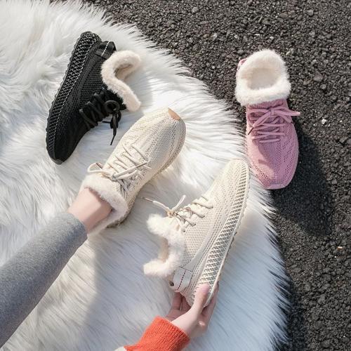cuteshoeswearWomen's shoes autumn winter starry sneaker shoes women's running shoes plush velvet retro shoes furry warm fly mesh comfort