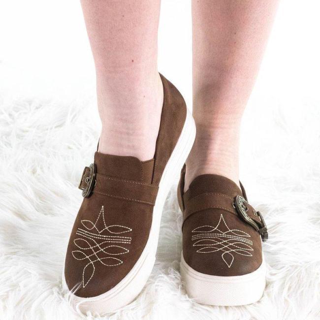 Slip-On Platform Shoes Faux Suede Adjustable Buckle All Season Loafers