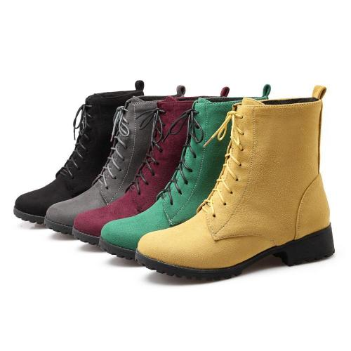 Lace Up Short Motorcycle Boots Plus Size Women Shoes 9857