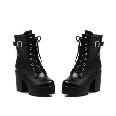 Women Shoes Winter Retro Round Head Thick Heel Lace Up Platform Short Boots