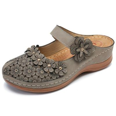 Cuteshoeswear CuteshoeswearLitthing Women's Sandals Summer Handmade Ladies Shoe Leather Floral Sandals Women Flats Retro Style Mother Shoes Size