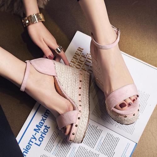 Womens Casual Wedge Heel Summer Artificial Suede Sandals