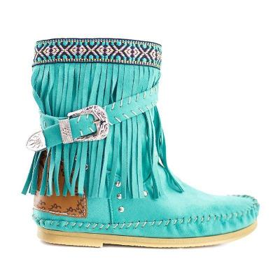 Plus Size Tassel Boho Leather Flat Heel Ankle Boots