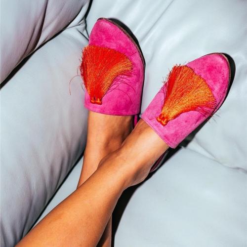 Low-Heeled Pointed Denim Sandals