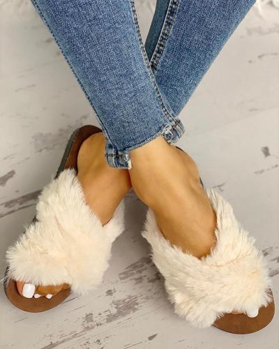 Fluffy Design Crisscross Detail Flat Shoes