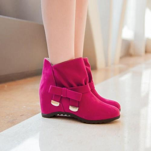 Women's Knot Ankle Boots Wedge Heels Shoes Autumn and Winter 8259