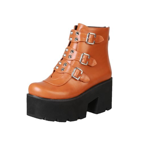Women Shoes Rivets Buckle Autumn and Winter Platform Short Boots
