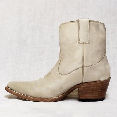 Women's Stylish Ankle Boots Comfortable Chunky Block Heel Western Cowboy Slip on Booties