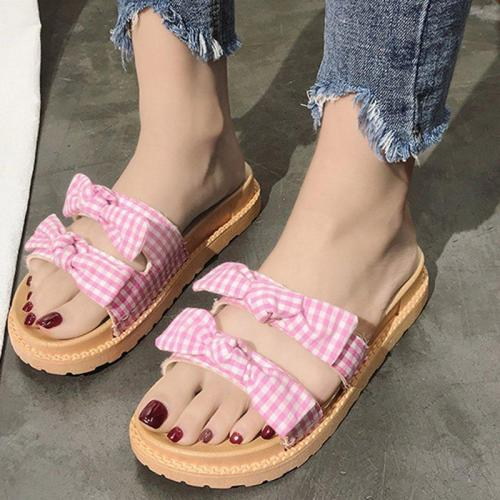 Bowknot Canvas Summer Flat Heel Women Slippers
