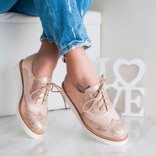 Plus Size Chic Leather Wide Fit Lace Up Bullock Loafers