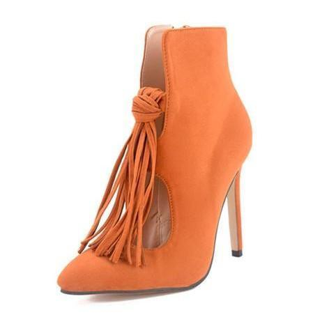 Pointed Toe Zip Tassel Suede Stiletto Heel Short Boots 2548