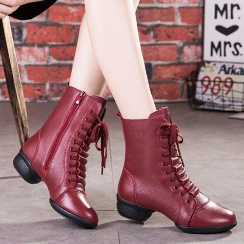 Womne's Side Zipper Lace Up Low Heel Winter Boots