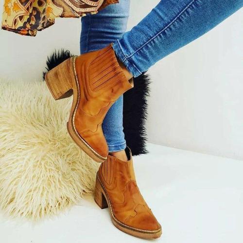 All Season Chunky Heel Slip-On Fashion Ankle Boots