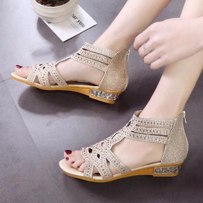 Women PU Sandals Casual Comfort Roman Zipper Shoes