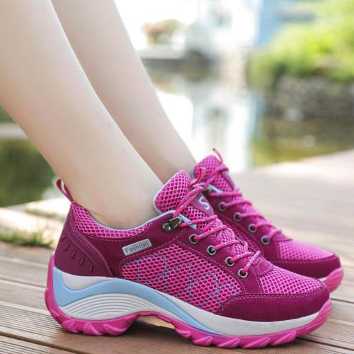 Womens Athletic Lace-Up Flat Heel Summer Sneakers