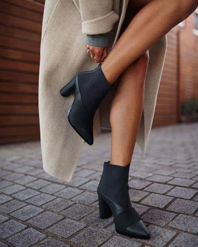 Solid Pointed Chunky Heeled Boots