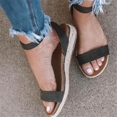 Hemp Buckle With Thick Bottom Roman Sandals