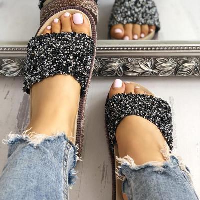Women Platform Slippers Shiny Sequins Embellished Open Toe Sandals