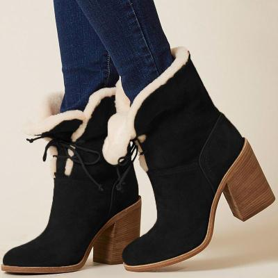 WWomens Lace-Up Chunky Heel Artificial Suede Daily Snow Boots