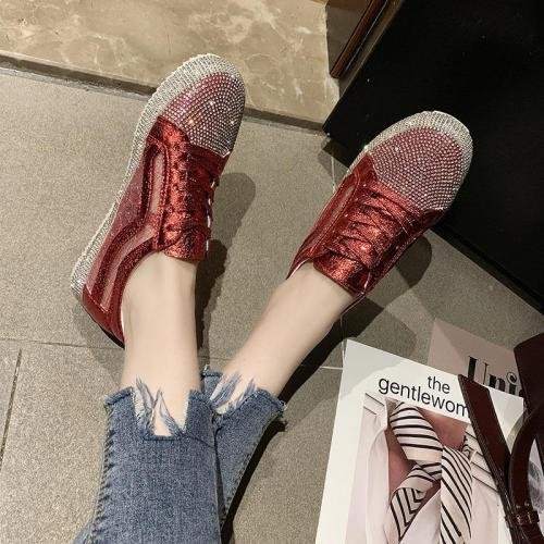 Tangnest New Loafers Women Platform Flats Faux Rhinestone Sneakers Lace-up Silver Solid Creepers Mujer Casual Flat Shoes XWD7708
