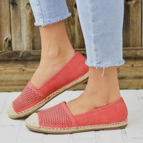 Women Flat Fisherman Shoes Slip On Autumn Hollow Out Loafers Canvas Mixed Color Female Casual Platform Ladies Sewing Plus Size