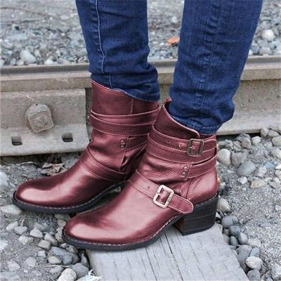 Women Casual Buckle Strap Low Heel Pu Ankle Boots