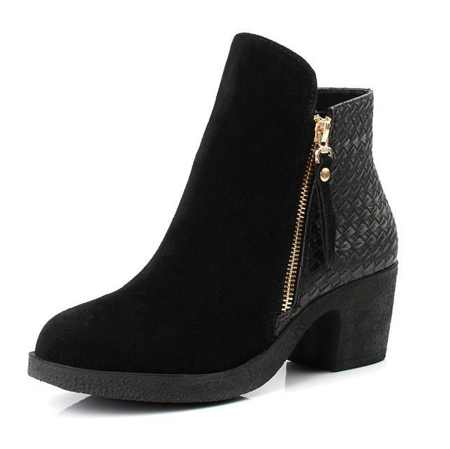 Woven Zip Suede Ankle Boots Genuine Leather Shoes 9241