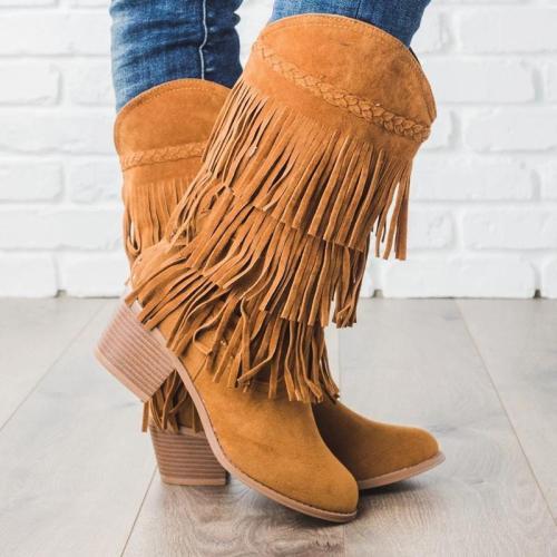 Plus Size Tassel Boho Suede Chunky Heel Mid Boots