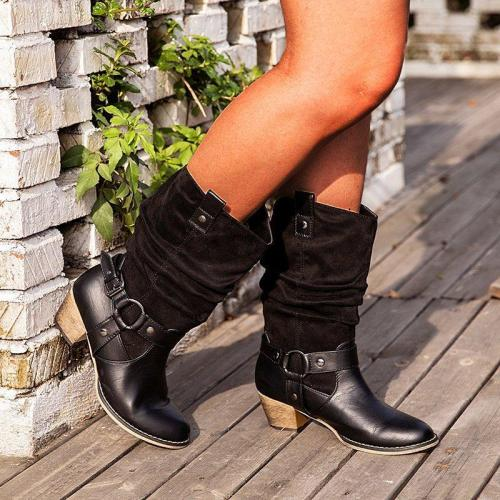 Black Chunky Heel Med (3-8Cm) Round Toe Women Boots