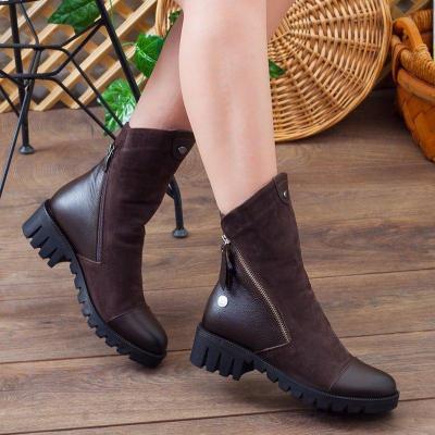 Fashion Side Zipper Low Heel Fall Motorcycle Boots