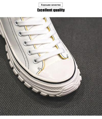Fashion High Top Sneakers Women Lace Up Comfortable PU Leather Sneakers For Women Chunky Shoes Woman Casual Hot Sale