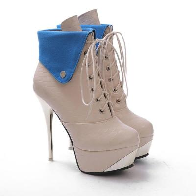 Women's Lace Up Platform Ankle Boots Stiletto Heel Shoes Autumn and Winter 5339