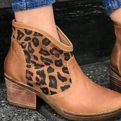 Block Heel Zipper Boots Patchwork Artificial Leather Leopard Ankle Boots