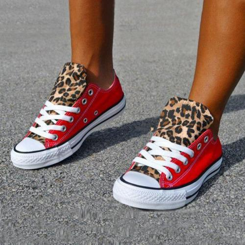 Lace-Up Canvas Leopard Flat Heel Casual Sneakers Fashion Shoes