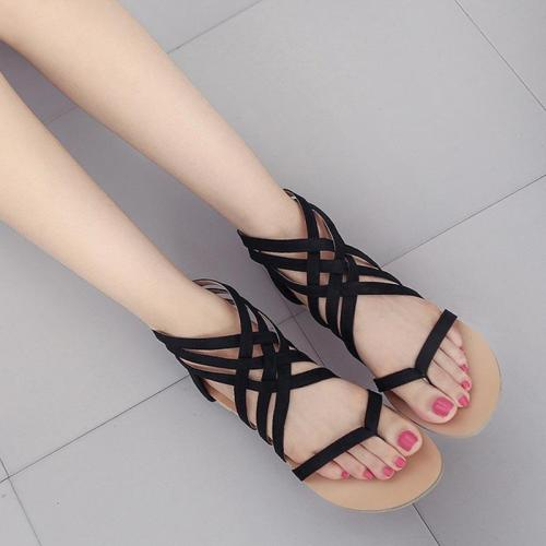 Shoes woman sandals 2019 new fashion casual back zipper sandals female cross-tied outdoor women shoes zapatos de mujer