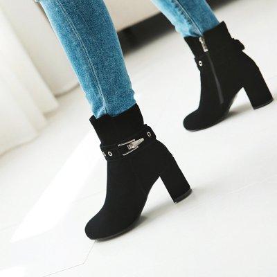 Autumn Winter Short Boots High Heels Women's Ankle Boots