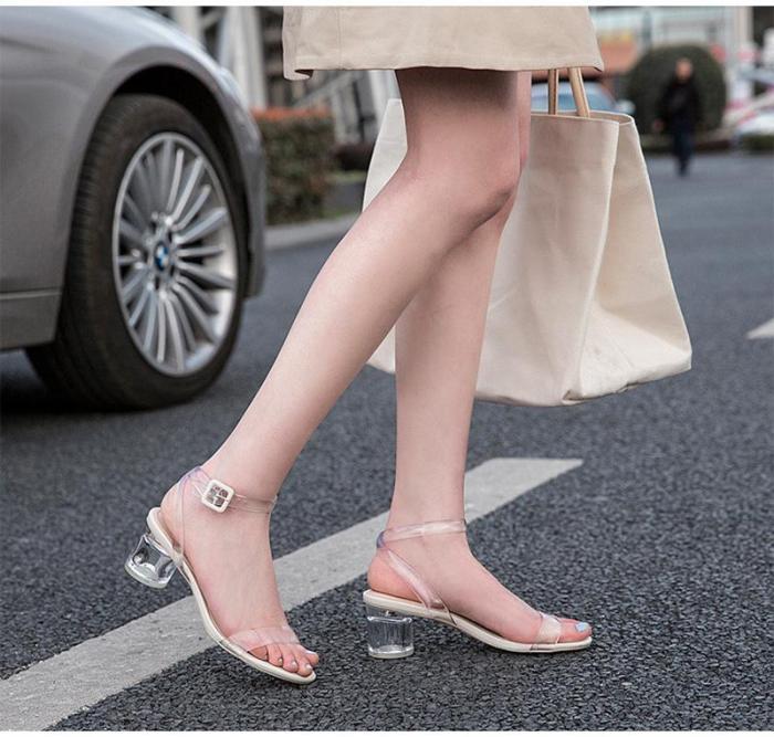 Transparent Crystal Shoes Women Sandals 2020 Summer High Heels Women Party Shoes Elegant Brand Ladies Square Heel 5cm A1359