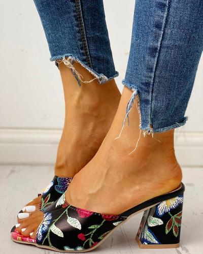 Peep Toe Print Chunky Heeled Sandals