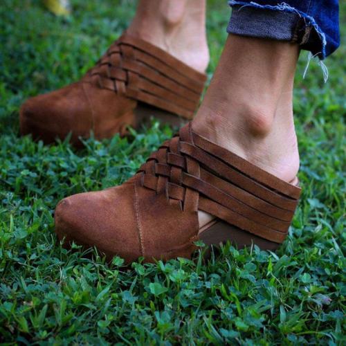 Vintage Women Wedge Heel Shoes Slip-On Wedges Plus Sizes