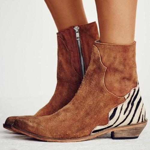 Split Joint Suede Winter Flat Heel Boots